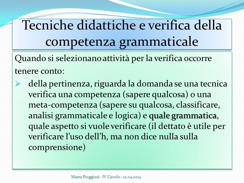 Tecniche didattiche e verifica della competenza grammaticale