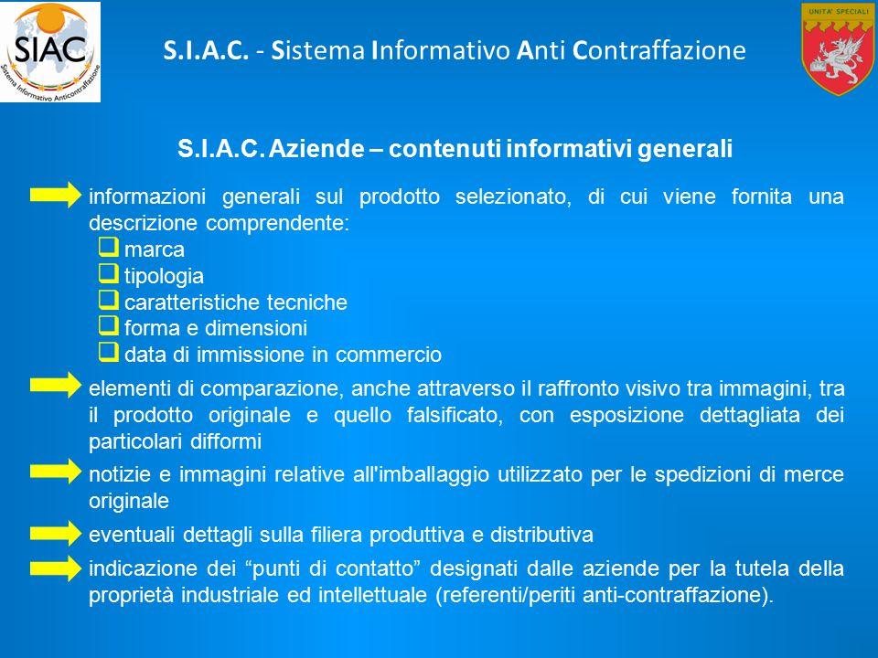 S.I.A.C. Aziende – contenuti informativi generali