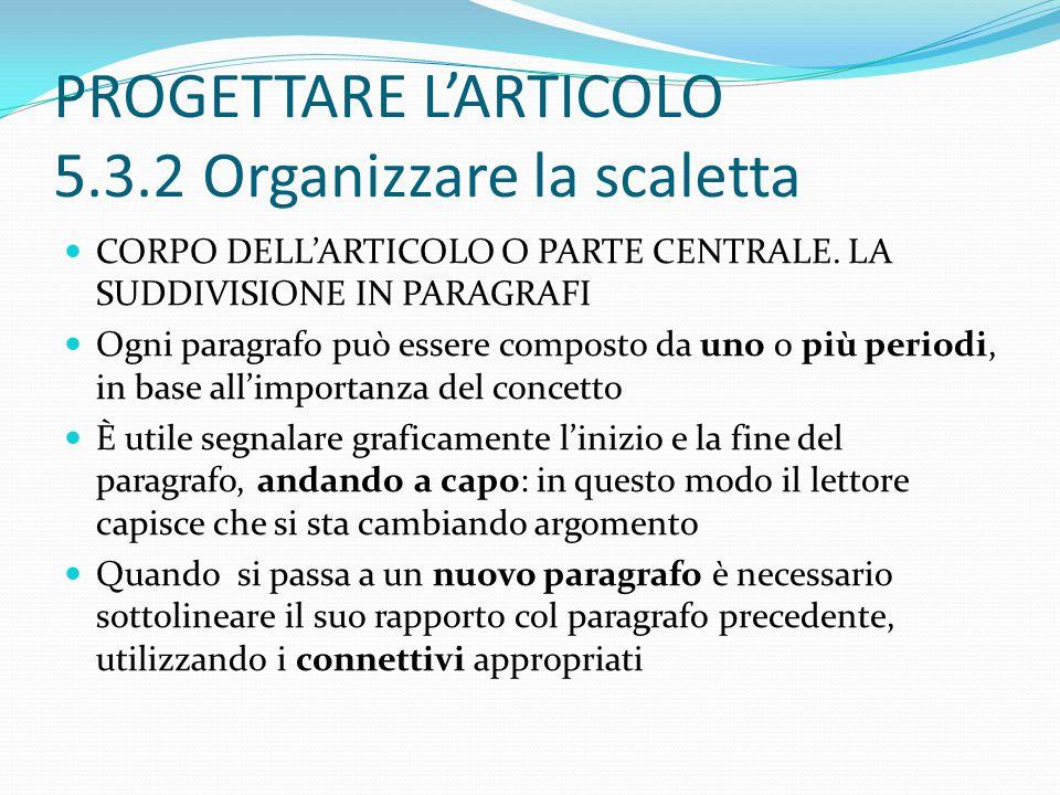 PROGETTARE L'ARTICOLO 5.3.2 Organizzare la scaletta