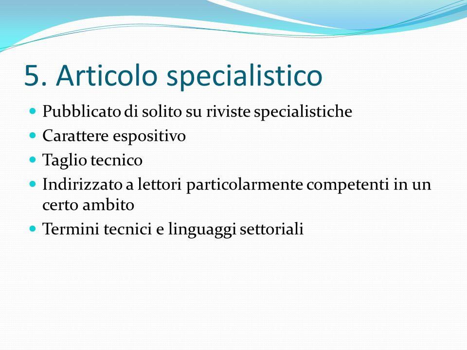 5. Articolo specialistico