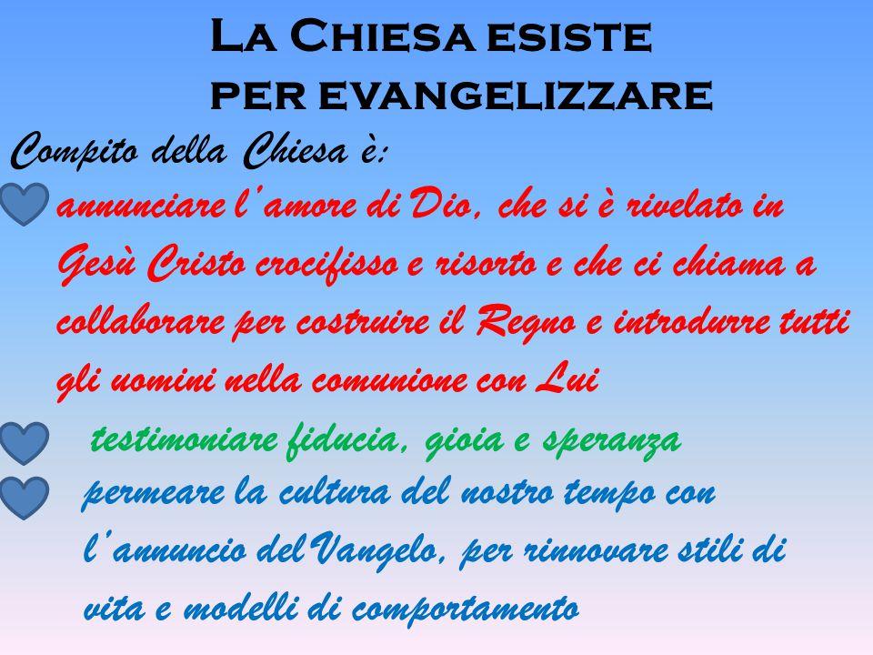 La Chiesa esiste per evangelizzare. Compito della Chiesa è: