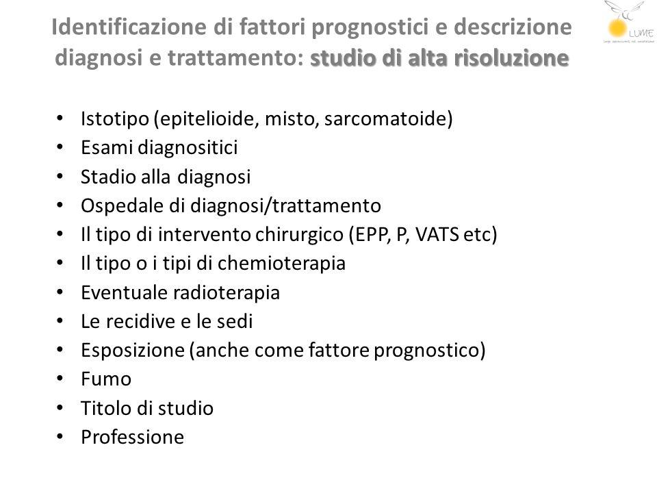 Identificazione di fattori prognostici e descrizione diagnosi e trattamento: studio di alta risoluzione