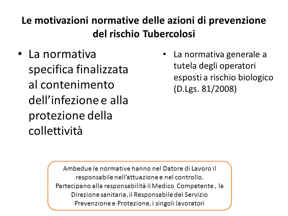 Le motivazioni normative delle azioni di prevenzione del rischio Tubercolosi