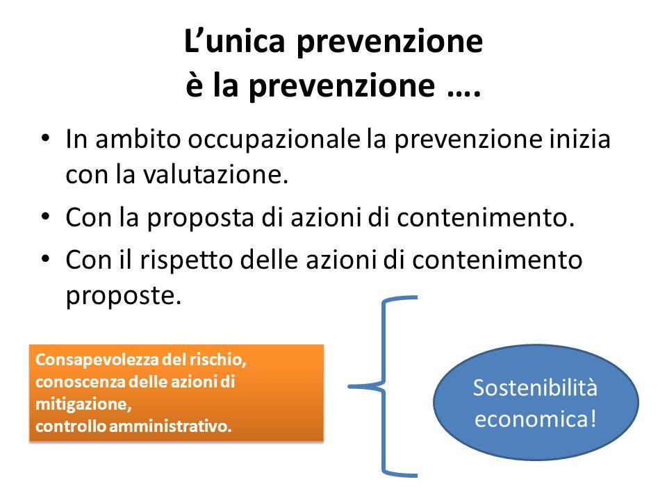 L'unica prevenzione è la prevenzione ….