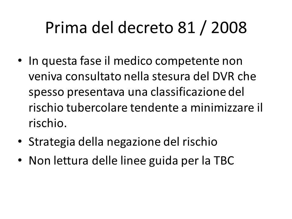 Prima del decreto 81 / 2008
