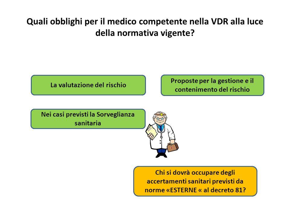 Quali obblighi per il medico competente nella VDR alla luce della normativa vigente
