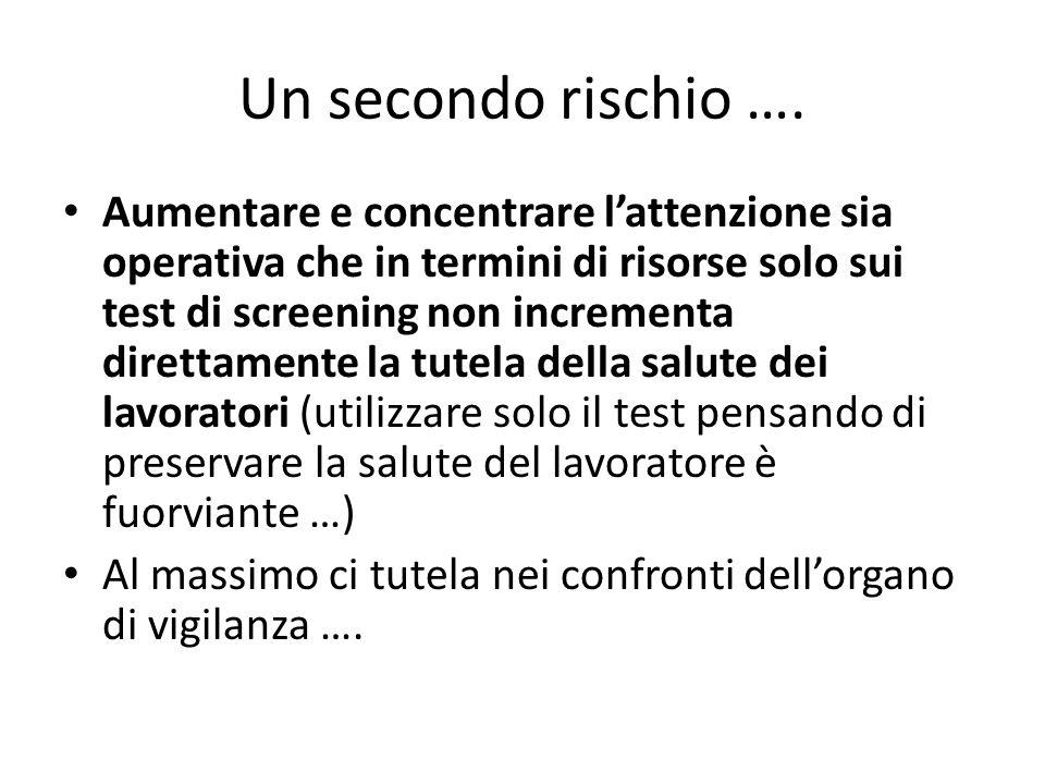 Un secondo rischio ….