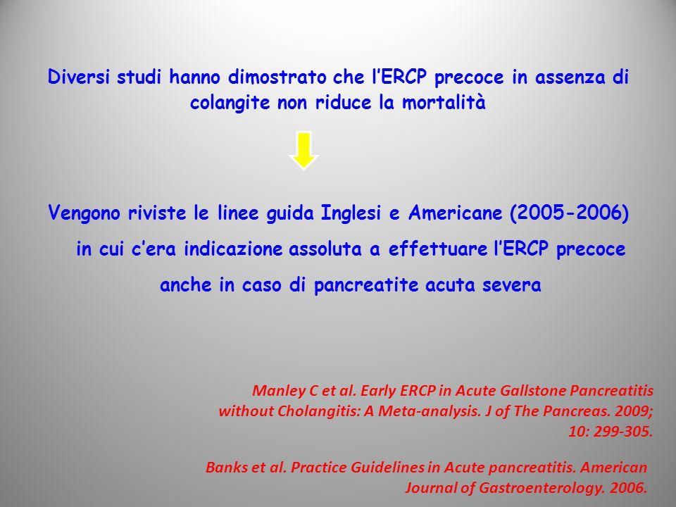 Diversi studi hanno dimostrato che l'ERCP precoce in assenza di colangite non riduce la mortalità Vengono riviste le linee guida Inglesi e Americane (2005-2006) in cui c'era indicazione assoluta a effettuare l'ERCP precoce anche in caso di pancreatite acuta severa