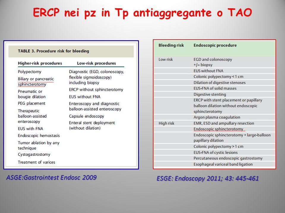 ERCP nei pz in Tp antiaggregante o TAO