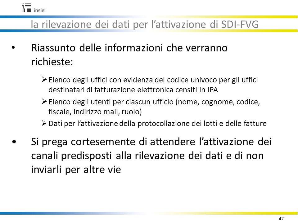 la rilevazione dei dati per l'attivazione di SDI-FVG