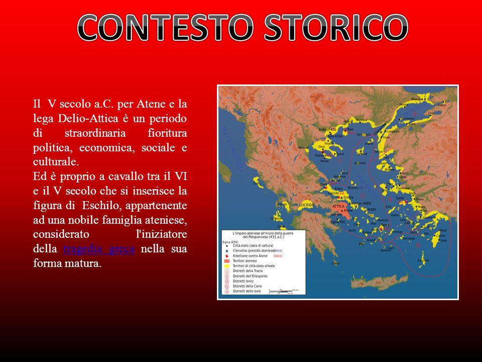 CONTESTO STORICO Il V secolo a.C. per Atene e la lega Delio-Attica è un periodo di straordinaria fioritura politica, economica, sociale e culturale.