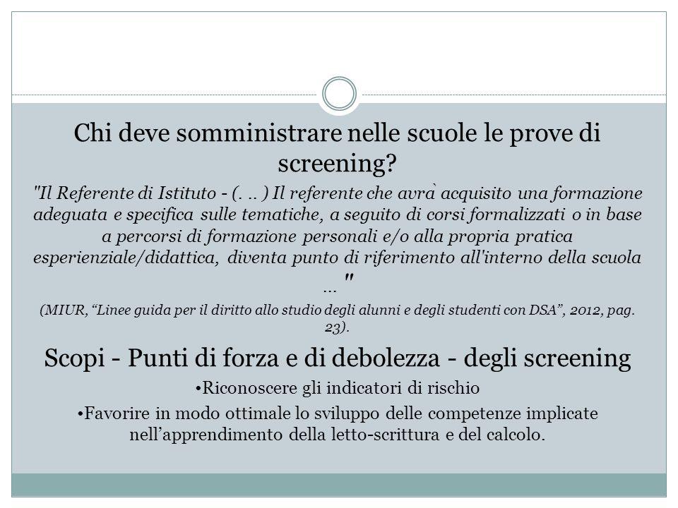 Chi deve somministrare nelle scuole le prove di screening