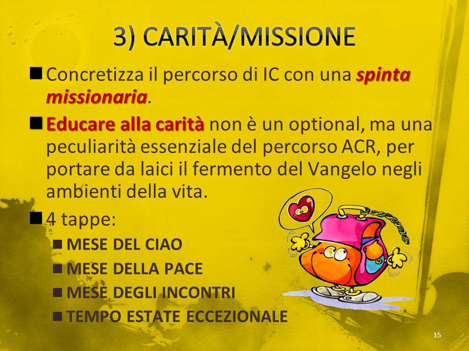 3) CARITÀ/MISSIONE Concretizza il percorso di IC con una spinta missionaria.