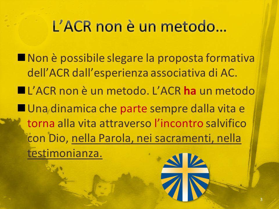 L'ACR non è un metodo… Non è possibile slegare la proposta formativa dell'ACR dall'esperienza associativa di AC.