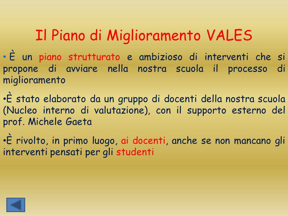 Il Piano di Miglioramento VALES
