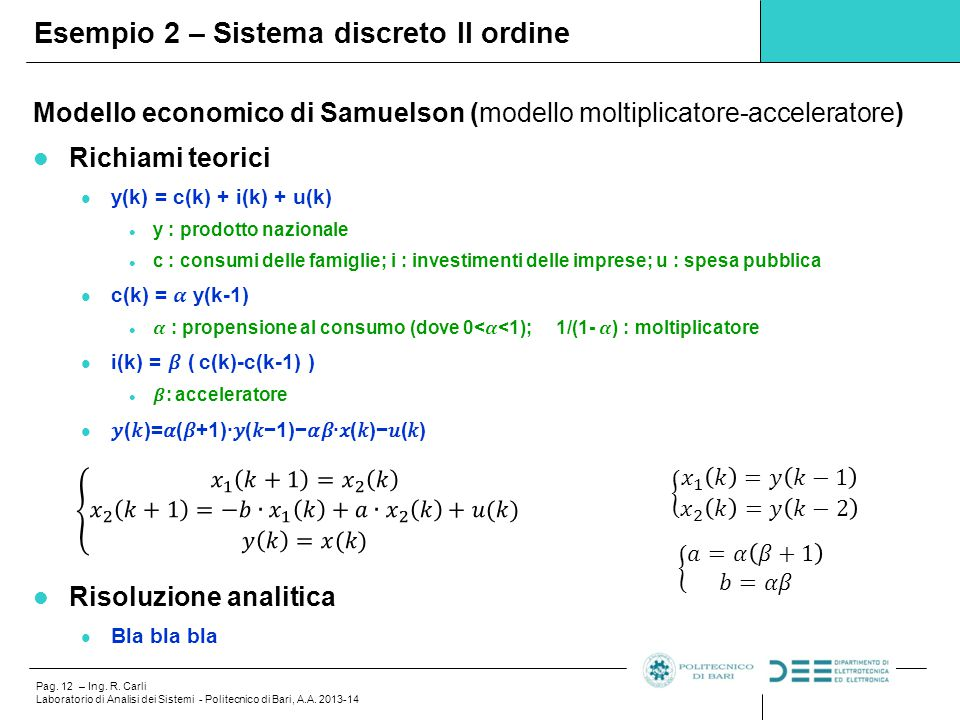 Esempio 2 – Sistema discreto II ordine
