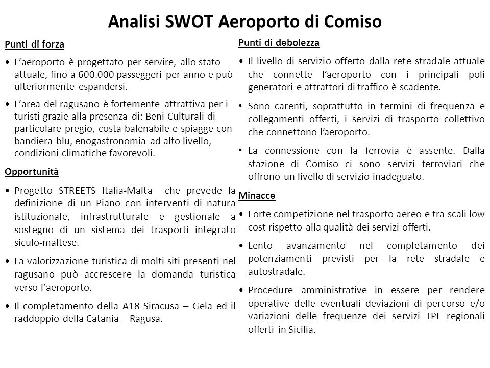 Analisi SWOT Aeroporto di Comiso