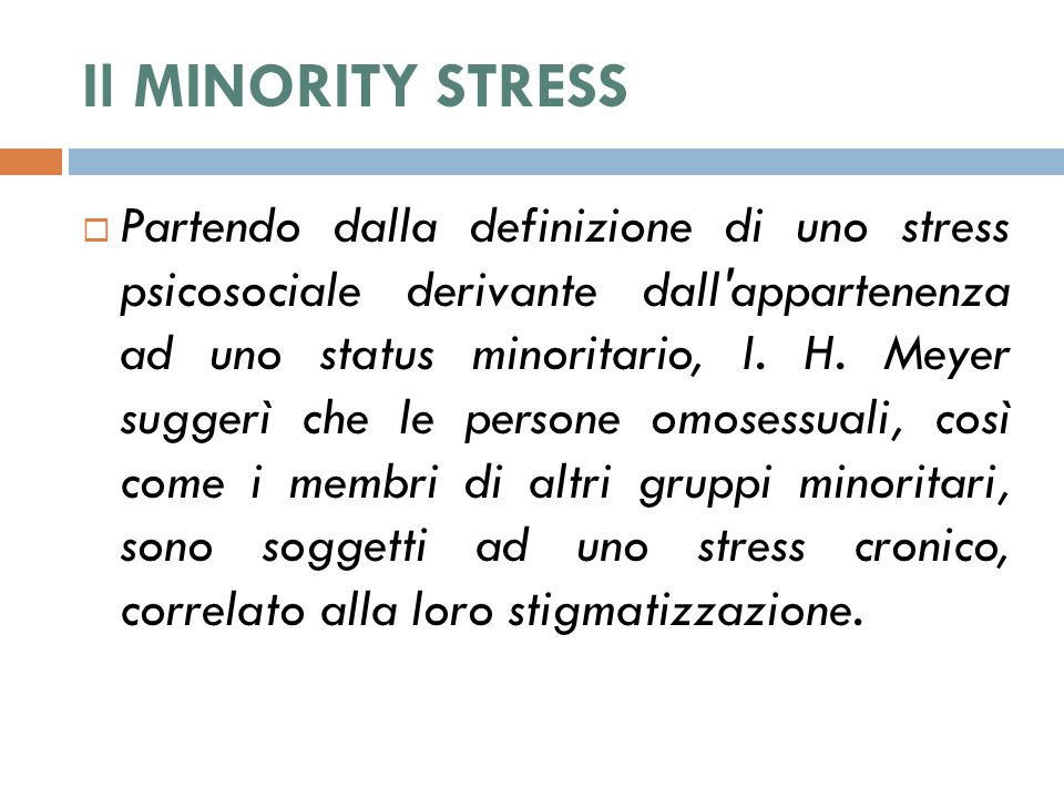 Il MINORITY STRESS