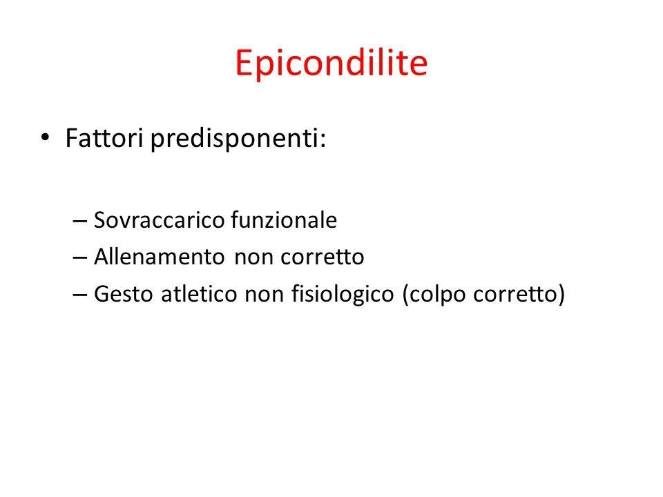 Epicondilite Fattori predisponenti: Sovraccarico funzionale