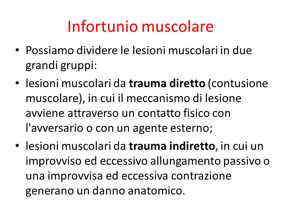 Infortunio muscolare Possiamo dividere le lesioni muscolari in due grandi gruppi: