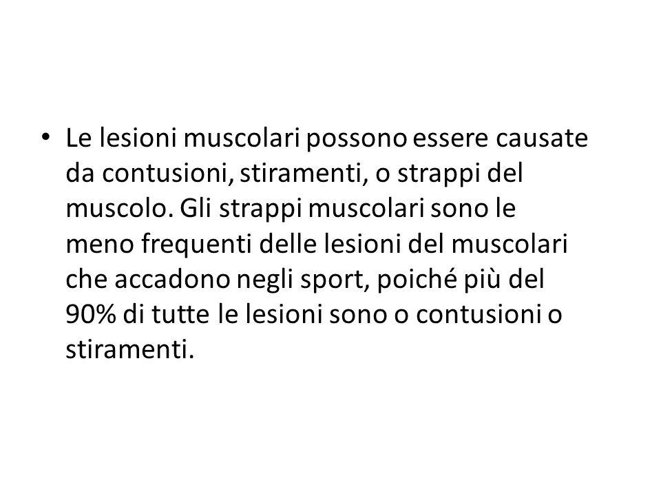 Le lesioni muscolari possono essere causate da contusioni, stiramenti, o strappi del muscolo.