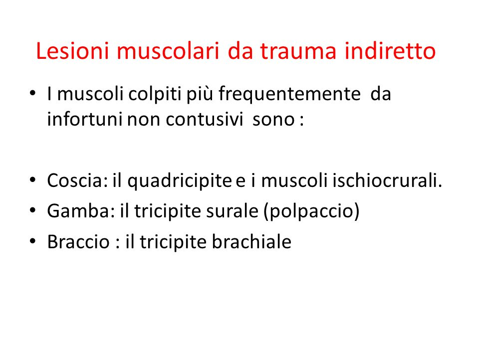 Lesioni muscolari da trauma indiretto