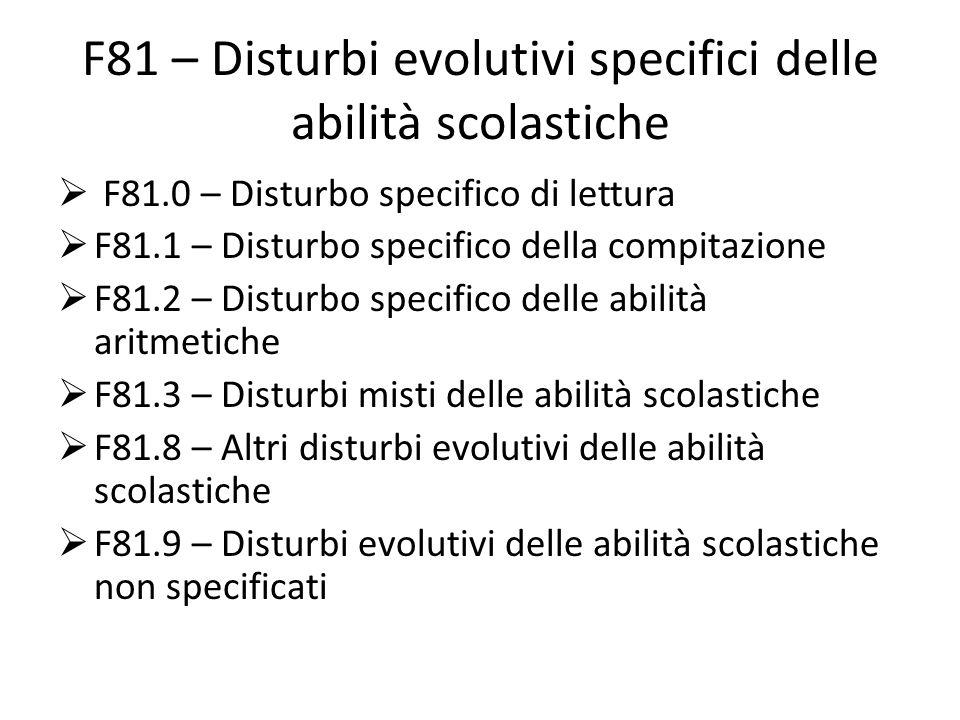 F81 – Disturbi evolutivi specifici delle abilità scolastiche