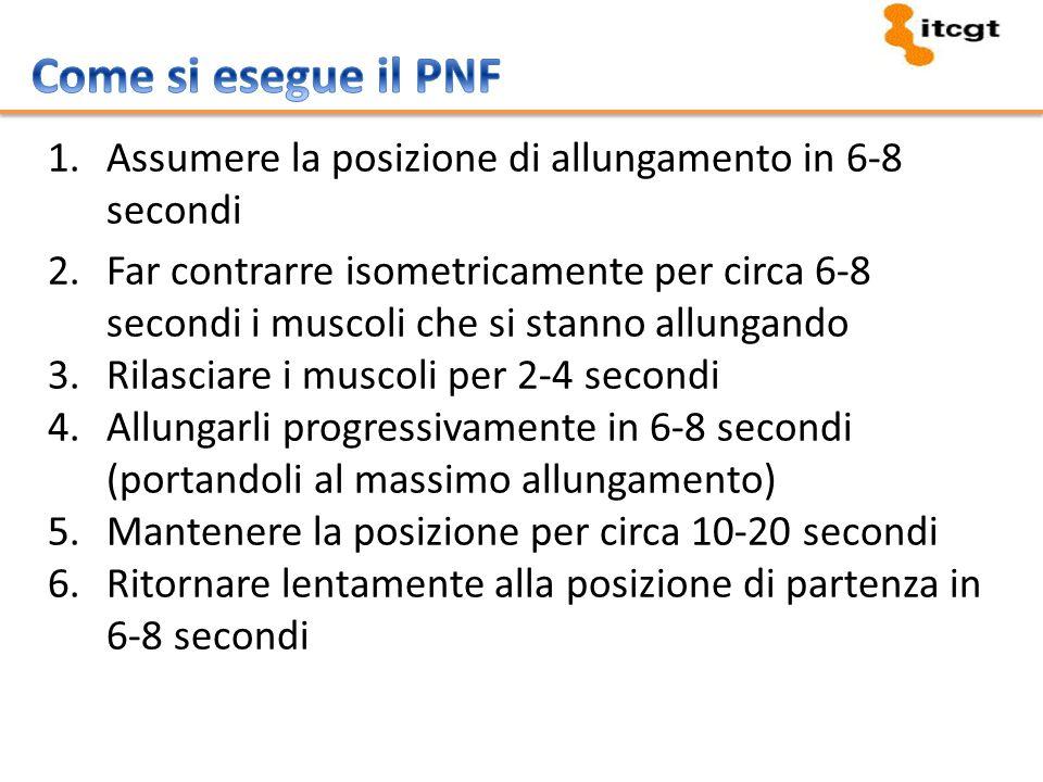 Come si esegue il PNF Assumere la posizione di allungamento in 6-8 secondi.