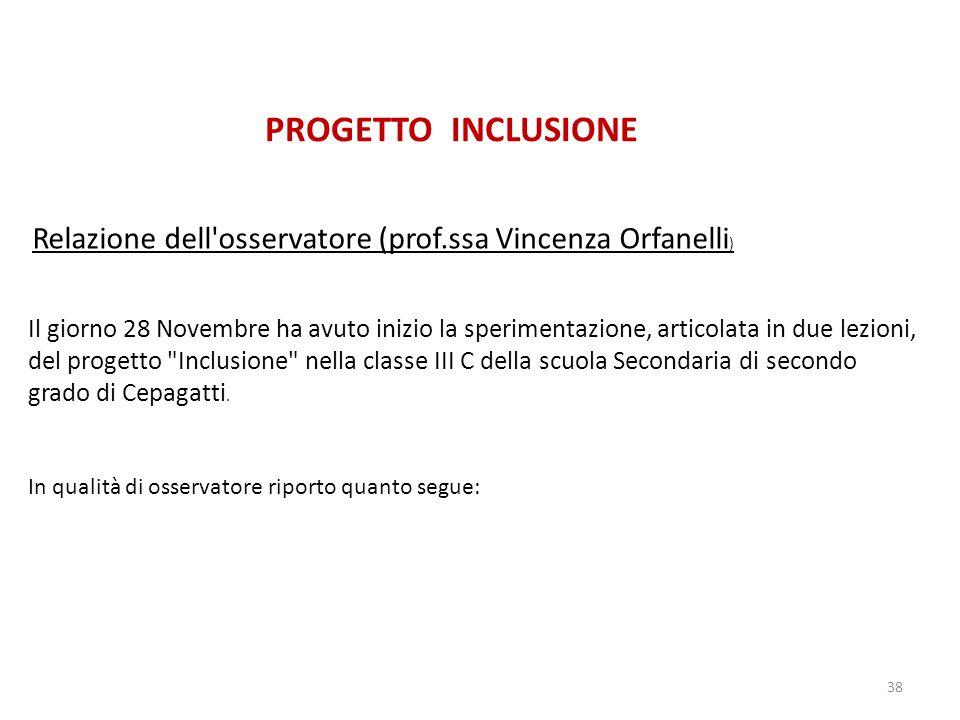 PROGETTO INCLUSIONE Relazione dell osservatore (prof.ssa Vincenza Orfanelli)
