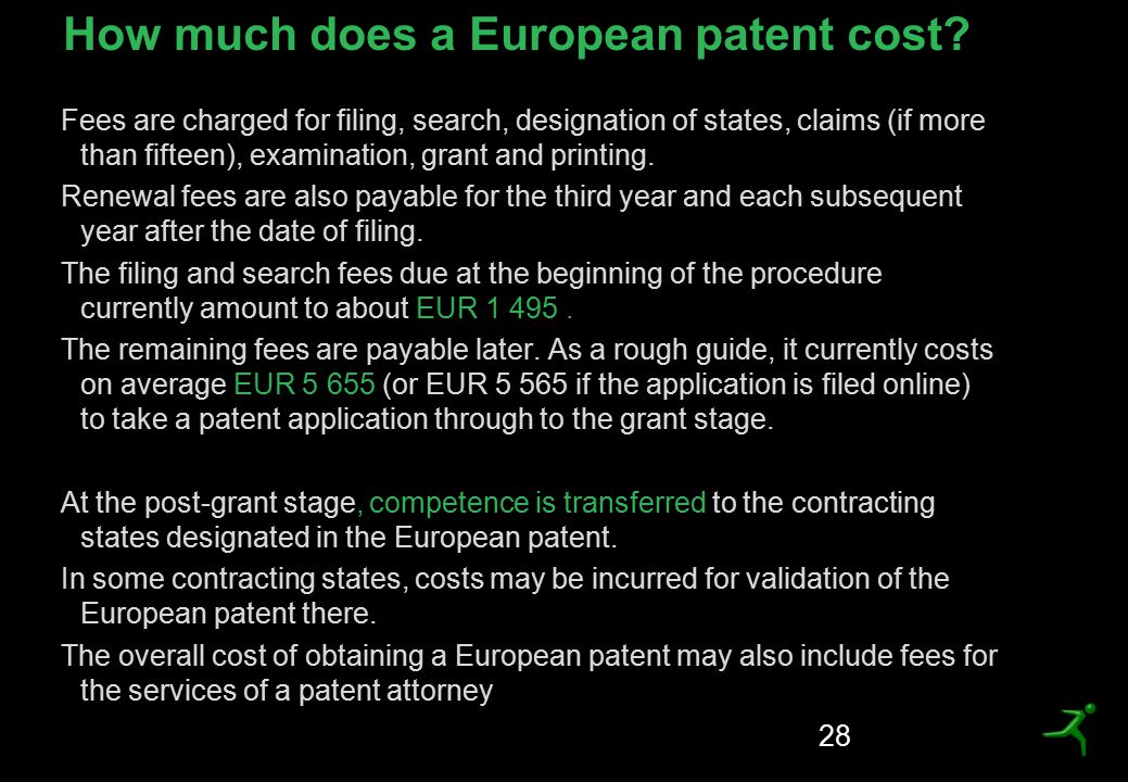 How much does a European patent cost