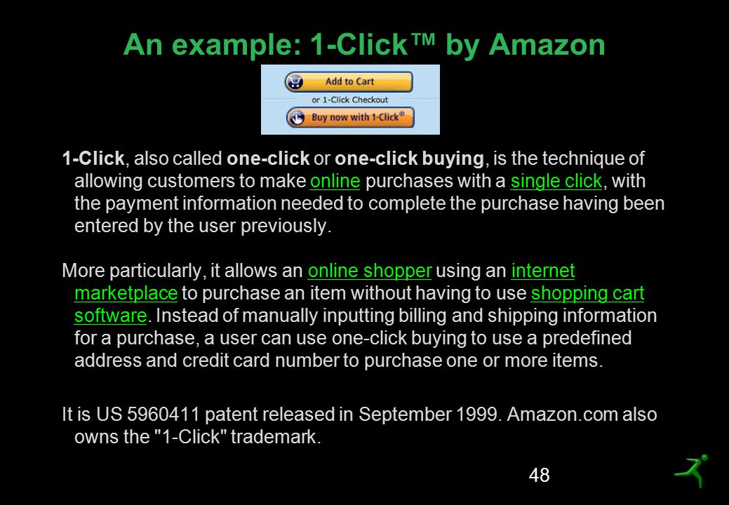 An example: 1-Click™ by Amazon