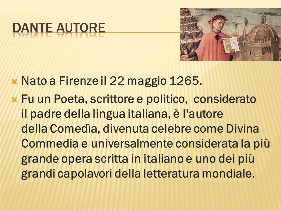 DANTE AUTORE Nato a Firenze il 22 maggio 1265.