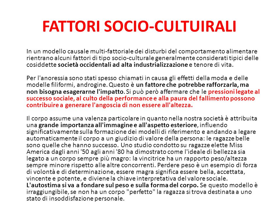 FATTORI SOCIO-CULTUIRALI