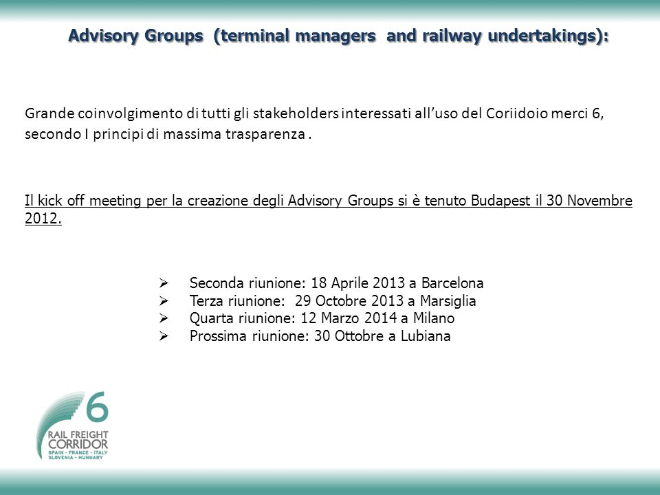 Advisory Groups (terminal managers and railway undertakings):