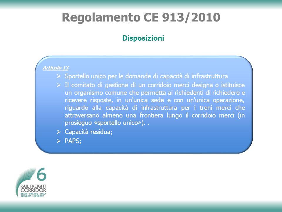 Regolamento CE 913/2010 Disposizioni