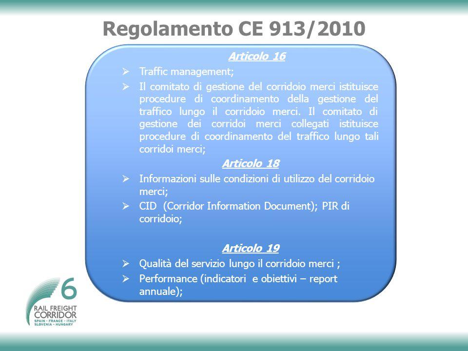 Regolamento CE 913/2010 Articolo 16 Traffic management;