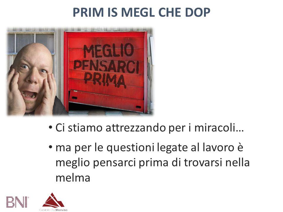 Prim is megl che dop Ci stiamo attrezzando per i miracoli…
