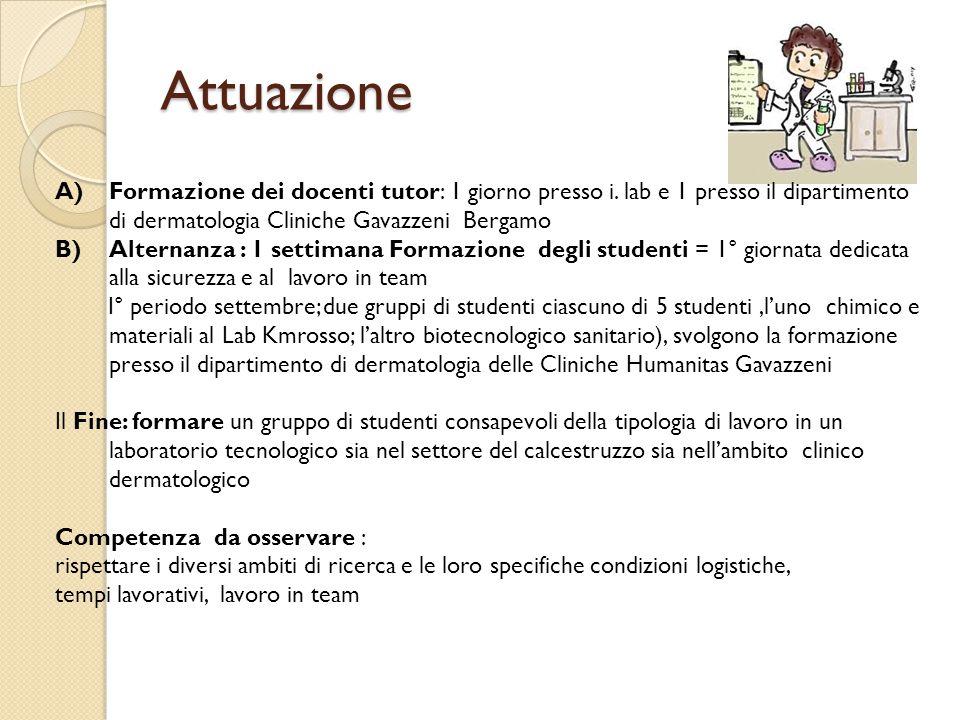 Attuazione Formazione dei docenti tutor: 1 giorno presso i. lab e 1 presso il dipartimento di dermatologia Cliniche Gavazzeni Bergamo.