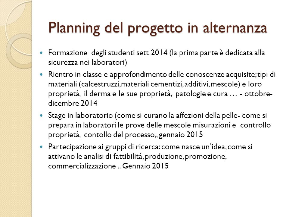 Planning del progetto in alternanza