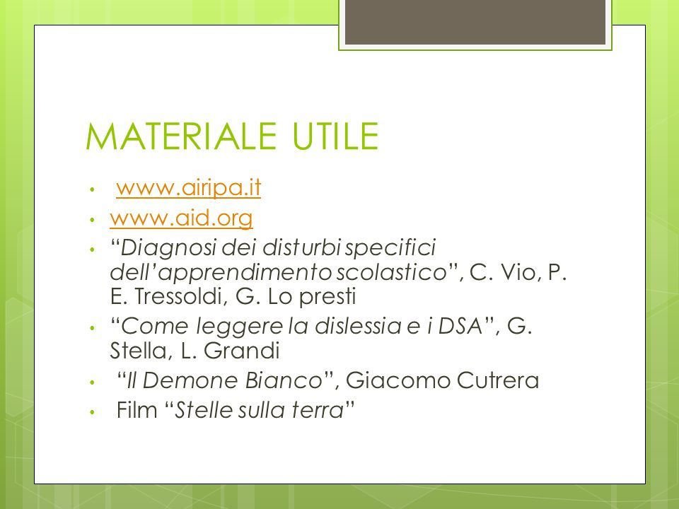MATERIALE UTILE www.airipa.it www.aid.org