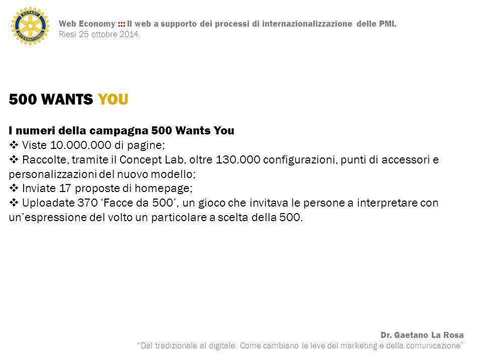 500 WANTS YOU I numeri della campagna 500 Wants You