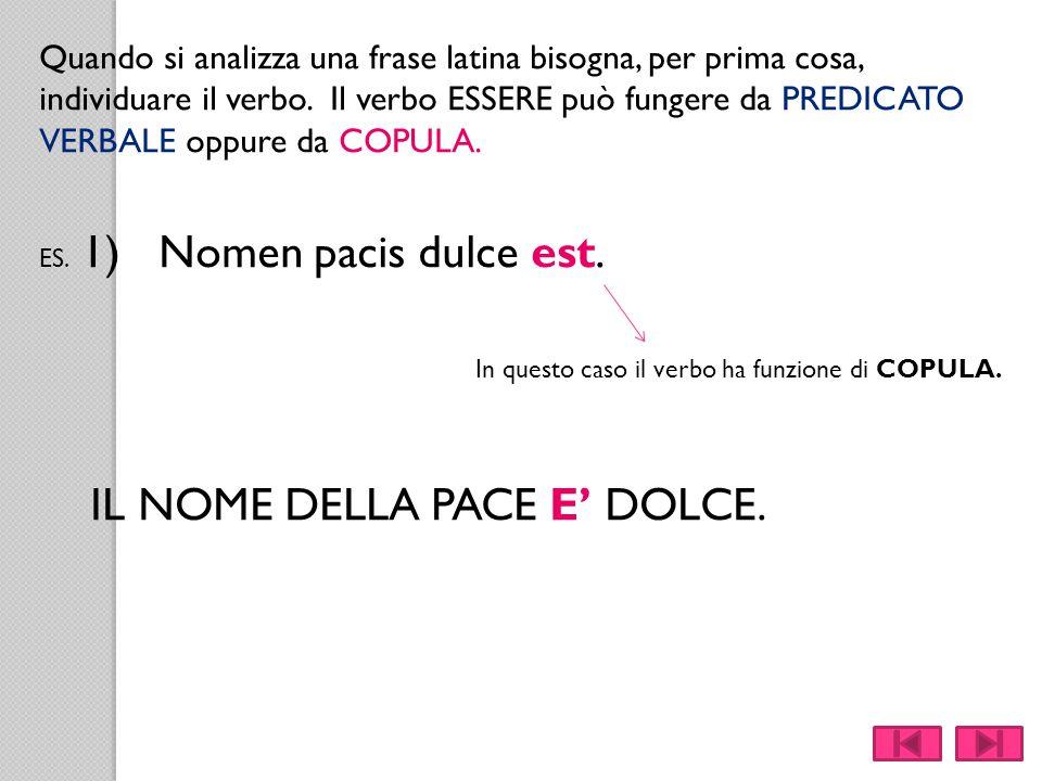 In questo caso il verbo ha funzione di COPULA.