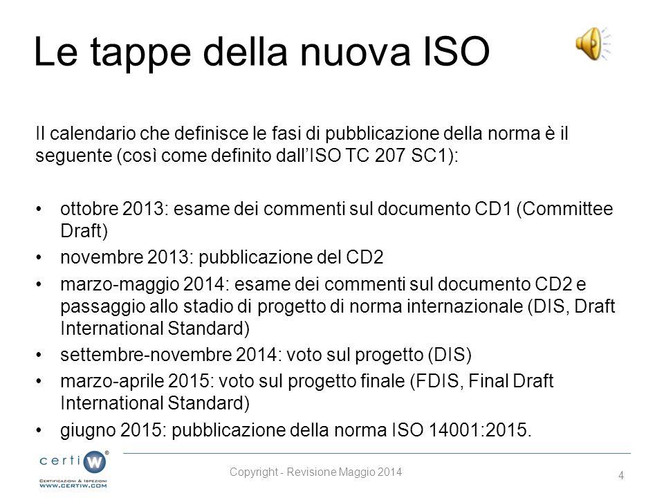 Le tappe della nuova ISO