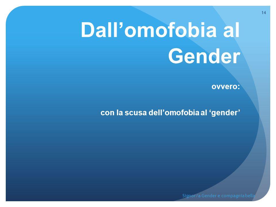 Dall'omofobia al Gender ovvero: con la scusa dell'omofobia al 'gender'