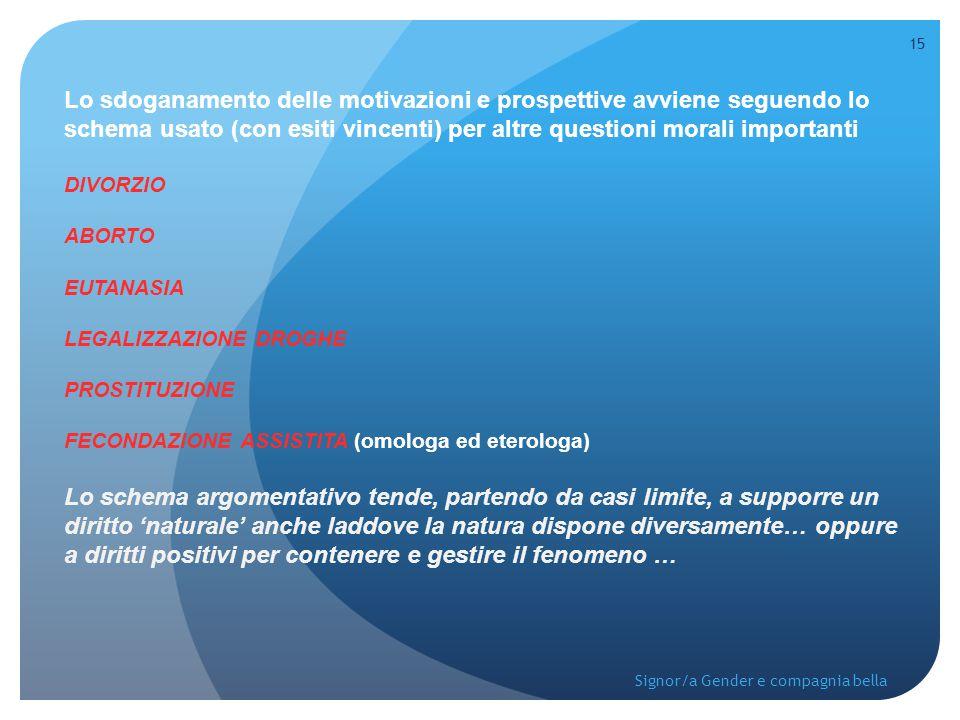 Lo sdoganamento delle motivazioni e prospettive avviene seguendo lo schema usato (con esiti vincenti) per altre questioni morali importanti