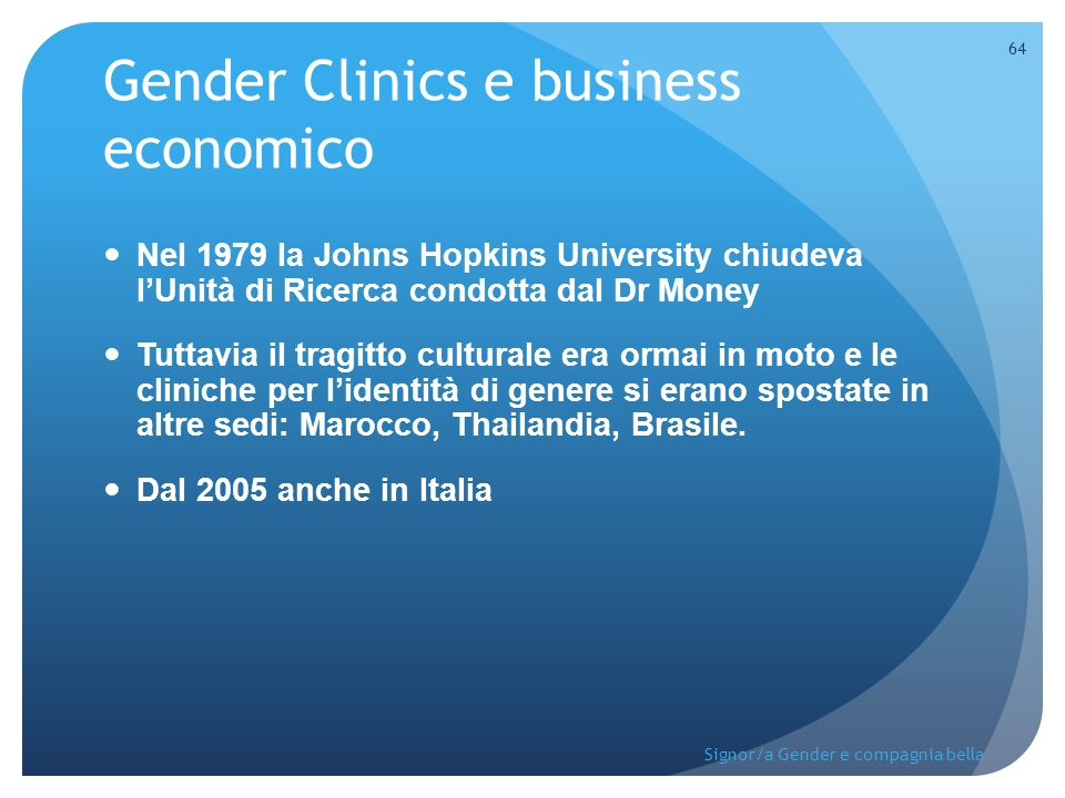 Gender Clinics e business economico