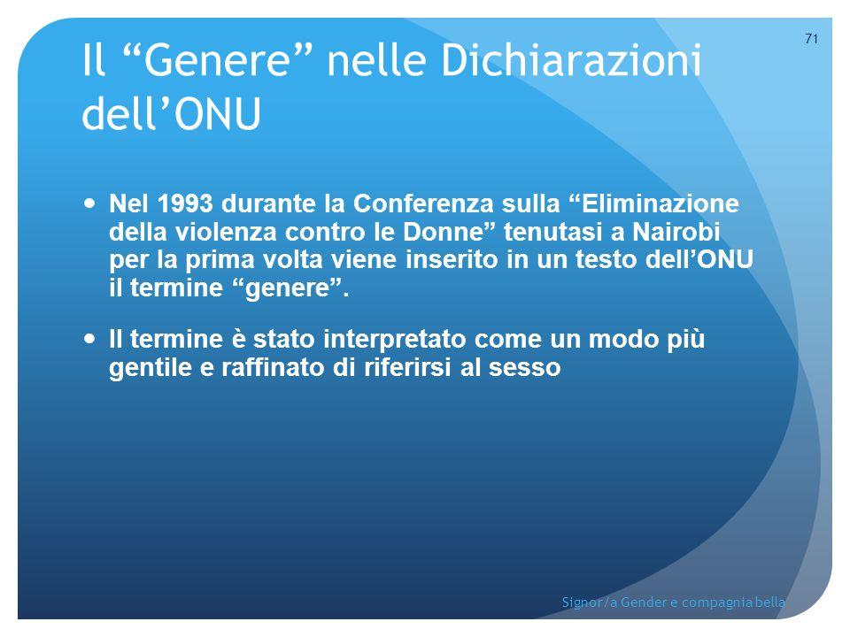 Il Genere nelle Dichiarazioni dell'ONU