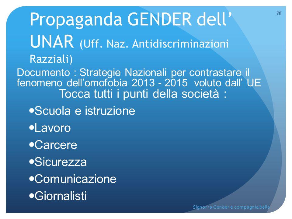 Propaganda GENDER dell' UNAR (Uff. Naz. Antidiscriminazioni Razziali)