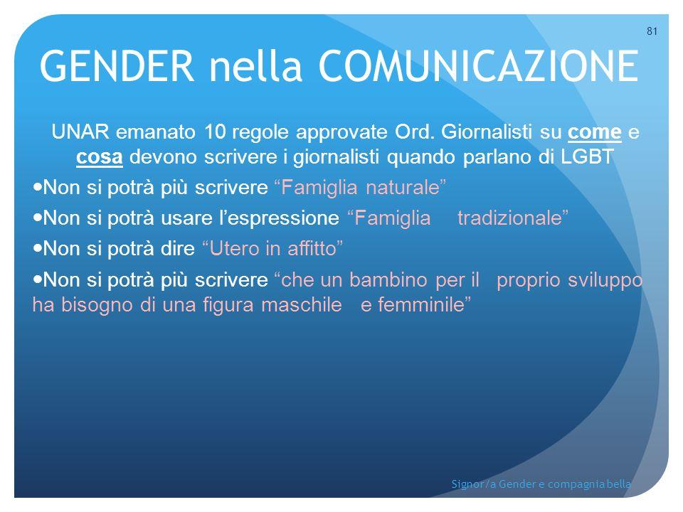 GENDER nella COMUNICAZIONE