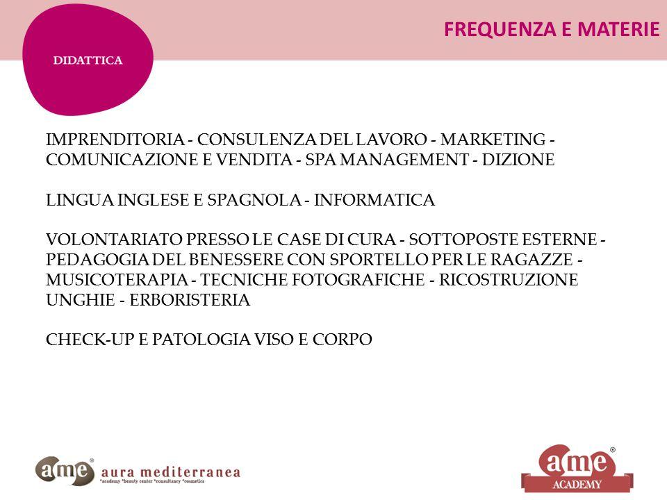 FREQUENZA E MATERIE IMPRENDITORIA - CONSULENZA DEL LAVORO - MARKETING - COMUNICAZIONE E VENDITA - SPA MANAGEMENT - DIZIONE.